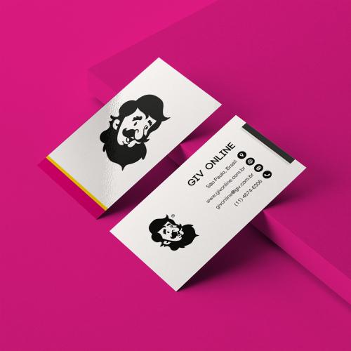 Cartão de Visita Promocional em Couché Brilho com Verniz Total Frente