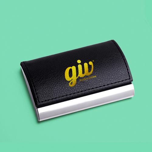 Porta-Cartão de Visita Elegance em Couro e Alumínio Personalizada